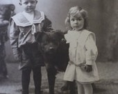 Clodfelter Kids & Pet Dog Antique Cabinet Card Photo