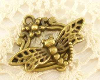 Dragonfly and Flower Toggle Clasp (4 sets) - BF27