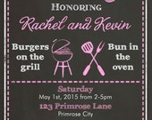 Co-ed BabyQ Shower Invitation - BBQ Girl Couple Baby Shower Invitation and FREE Thank You Card  Printable - Pink Baby Q