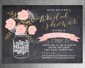 Mason Jar Bridal Shower Invitation Gold Glitter Chalkboard PRINTED with Envelopes #143