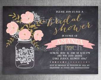 Mason Jar Bridal Shower Invitation Gold Glitter Chalkboard PRINTED with Envelopes #143