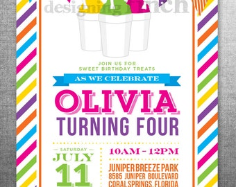 Summer Snow Cone Ice cream Birthday Invitation, Photo Card, 5x7, Printable and Customizable #130