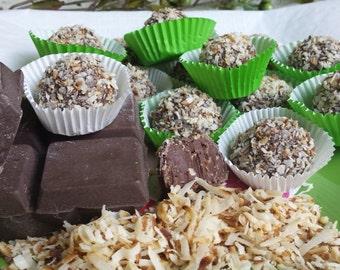 Chocolate Coconut  Truffles 18 Truffles, Chocolate covered truffles, Truffle desserts, chocolate coconut truffle, wedding favor
