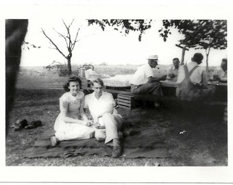 Old Photo Couple on Blanket Men Playing Cards Man Pipe 1940s Photograph snapshot vintage Man Woman