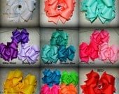 Set of 5 Small Medium or Large Solid Color Boutique Style Bows / YOU CHOOSE COLORS / Hairbow / Hair Bow / Layered / Many Colors