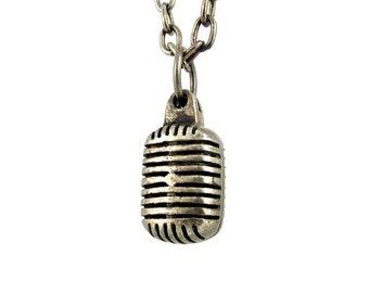 Vintage Microphone - white brass