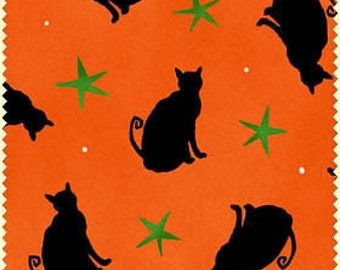 Fat Quarter Halloween Cats Orange Cotton Quilting Fabric Ghouls Night Out