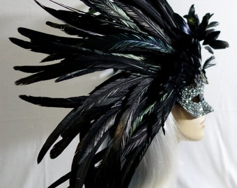 Marcasite Delight! Silver & Black Rooster Feather Masquerade Mask