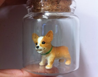 Miniature Puppy in Glass dome for table Decoration