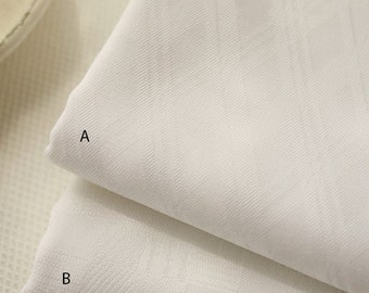 White Cotton Fabric  White Fabric With Jacquard Weave Bias Plaid For Clothing Curtain Scarf- 1/2 yard