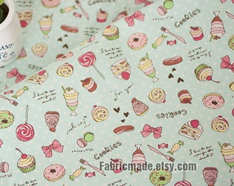 Pastel Linen fabric For Kids Children, Cute Candy Dots On Light Blue Yellow Pink Green Khaki - A half yard Two Color Green Pin
