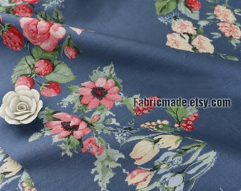 Soft Cotton Fabric,  Pink Red Strawberry Rose Flower On Grey Blue Cotton, Floral Fabric - 1/2 yard