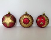 Set of 3 rare Collectible vintage Celestial Christmas ornaments, Christborn, Red and Gold, Sun, Moon, Stars, Glitter, circa 80's, gift idea