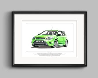 Ford Focus RS Mk2 - ART POSTER A2 size