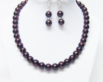 10mm Chocolate Glass Pearl Choker Necklace w/Bracelet & Earrings Set