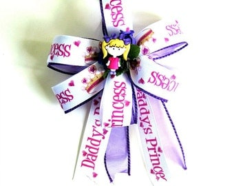 Daddy's little princess with blonde hair bow-Bow for little girls-Gift wrapping bow-Reusable gift bow-Party decorations for girls (FN103)