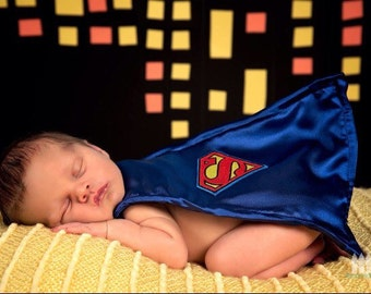 Newborn superman Costume Baby Photo Prop Mask and Cape