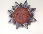 Clay Sun Star, Original Relief Sculpture, Garden Art, Sun Sculpture, Star Sculpture