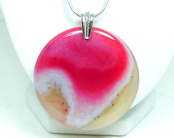 Pink Agate Necklace, Round Shape Pendant, Gemstone Pendant Bead, Gemstone Jewelry, Natural Stone Pendant, Pink White Agate Pendant
