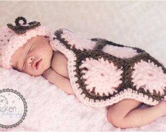 Pink Newborn Turtle Hat and Cape, Crochet Baby Girl Photo Prop