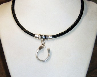 Men's or Women's Horseshoe Nail Pendant on Square Braided Horsehair Necklace with Stainless Steel Clasp
