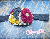Mustard, Navy, Fuchsia Headband, Yellow, Fuchsia Hair Piece, Dark Denim, Raspberry Hair Clip, Hair Accessories, Baby Girl Hairbow, Blue Jean