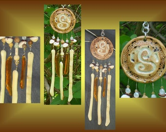 Sand Spiral Glass Windchime, Ceramic Wind Chime, Garden Decor, Brown Stained Glass, Window Suncatcher, Pottery Mobile