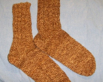 Med brown/light brown, 100% wool hand knit, medium weight socks from my handspun, hand dyed wool!