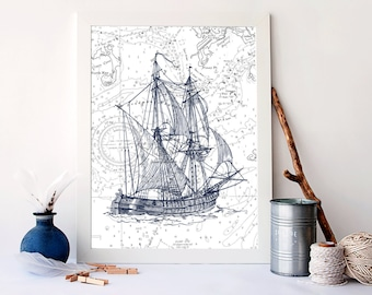 Vintage ship print, nautical nursery decor, Nautical Art Print, Vintage Nautical, Ocean Art Print, sailboat print, ship wall decor, A-1050