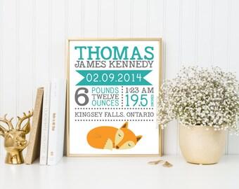 Birth announcement, birth stat prints, fox art nursery, birth stat wall art, birth stat woodland, birth gift, birth details art, A-1021