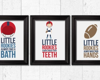 Little Rookies Football Players Art, Bathroom Decor, Kids Decor, Kids  Football Decor,