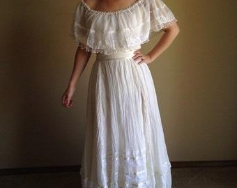 70s Summer Gypsy Peasant Gunne Sax dress
