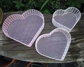 heart basket, pink and white, wire, metal, plastic coated wire, vintage, set of three, vintage, 1980's for holding your treasures