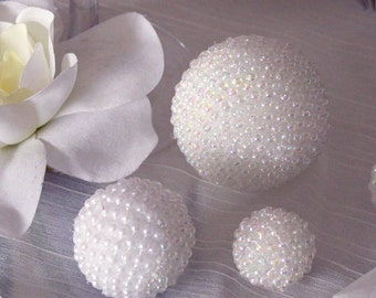 2pc-2in /3pc-1in/3pc-1.5in white pearl kissing ball for wedding table decoration, clear glass decoration