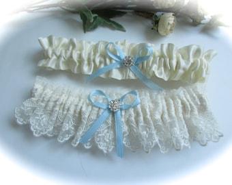 Wedding Garter Set with Blue Satin Ribbon Bow and Crystal rhinestone Centering - Garter Set