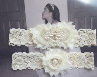 SALE Wedding Garter ..chiffon flowers Garter .. Bridal Garter .. Wedding Garter Set .. Toss Garter .. Vintage Garter .. Lace Garter