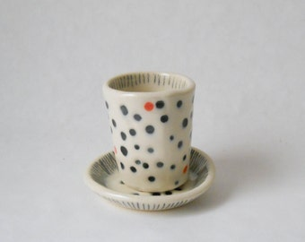 Dots and Dashes Mini Tumbler and Saucer