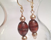Cocoa brown glass and pearl ladies dangle earrings