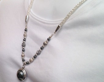 Long necklace ladies viking knit silver hematite and druzy