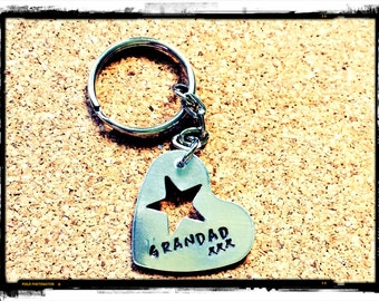 Double Sided Personalised hand stamped key chain/key ring/bag charm