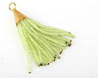 CLEARANCE 20% OFF-Transparent Phosphoric Green, Short Afghan/Tibetan Heishi Seed Bead Tassel,1pc- 55 mm/2 inches- Tassel Supplies // TAS-030