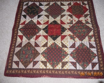 Antique Appearing Table Topper, red, brown, tan, 16.5 inches, paisley, dots, floral, square, topper, runner, handmade, Material Things