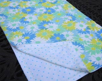 Retro Fabric Baby Blanket, Groovy Flower Print, Soft Flannel, Large Size