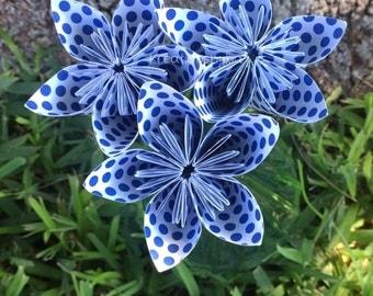 3 Navy Polka Dot Paper Flowers with Stems // Origami Flower/Kusudama Flower Bouquet/ Flower Arrangement/ Baby Shower/ Nursery/ Centerpiece