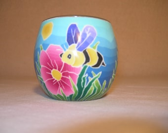 fimo glass votive candle holder (bumble bee)