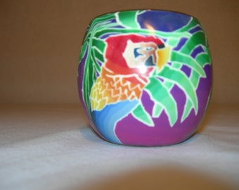 fimo glass votive candle holder (Parrot)