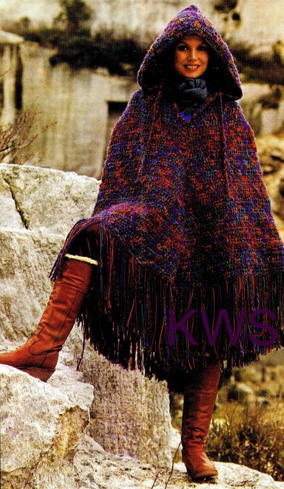 Vintage 70's Crochet HOODED Poncho PDF Pattern by