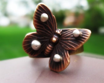 Butterfly Ring Novelty Gold Brass Rustic Sterling Silver Metalsmith Sculptural Contemporary Mixed Metal Metalwork Jewelry