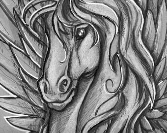 Pegasus, Ray HarryHausen, Tribute Fan Art, Clash of The Titans, Pen and Ink, Comic Art