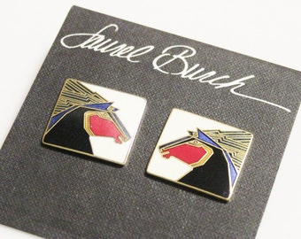 "Vintage Horse Earrings By Laurel Burch ""STALLION"", Enamel Earrings, Gifts Under 40, Horse Jewelry"
